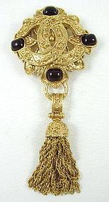 Classic Chanel Logo Gold Tone Gripoix Glass Tassel Pin