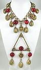 Stunning Joseff of Hollywood Brass & Glass Bib Necklace