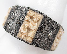 Gorgeous Chinese Export Silver Ivory Panel Bracelet
