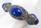 Gorgeous Chinese Export Silver Lapis Enamel Bracelet