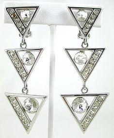 Dramatic Rivoli Rhinestone Modernist Clip Earrings