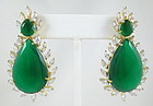 Gorgeous Faux Emerald CZ Pendant Earrings