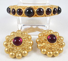 Lovely Deanna Hamro Bohemian Garnet Bracelet & Earrings