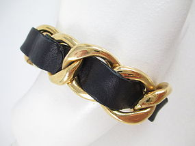 Classic Chanel Chain and Leather Heavy Link Bracelet