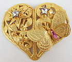 Beautiful Philippe Ferrandis France Butterfly Heart Pin