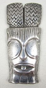 Rare Ming's of Honolulu Sterling Tiki Mask Pin