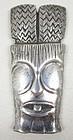 Rare Ming's of Honolulu Sterling Tiki Mask Pin
