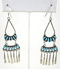 M. Dishta Zuni Sterling Turquoise Pettipoint Chandelier Earring