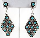Lovely Vintage Zuni Sterling and Turquoise Pendant Earrings