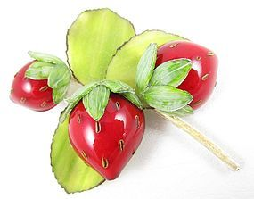Charming Cilea of Paris Resin Strawberry Pin