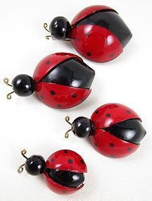 Whimsical Cilea of Paris Resin Lady Bug Pin (Medium)