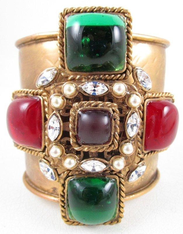 Chanel Inspired Gripoix Glass Maltese Cuff Bracelet