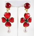 Gorgeous Chanel Inspired Gripoix Glass Red Camellia Earrings