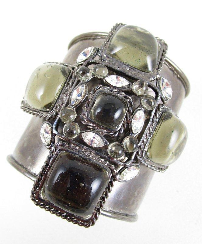 Chanel Inspired Gripoix Glass Grey Maltese Cuff Bracelet