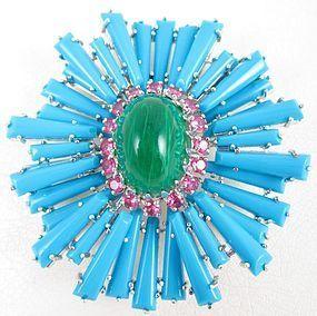 "Spectacular Jarin Kasi ""Schreiner"" Inspired Turquoise Ruffle Pin"