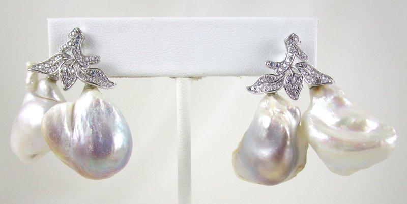 Striking Jarin Kasi Sterling CZ Baroque Pearl Drop Earrings