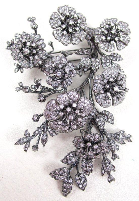 Breathtaking Jarin Kasi Sterling CZ En Tremblant Flower Bouquet Pin