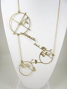 Unique Brass Cut Work Math Circles Equation Necklace