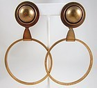 Fantastic Oversized Jan Michaels Antiqued Brass Hoop Earrings