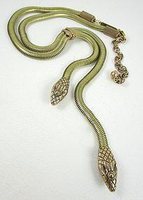 Elegant Jan Michaels Antiqued Brass Egyptian Revival Snake Necklace