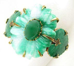 Jan Michaels Antiqued Brass Stone and Enamel Art Nouveau Bracelet