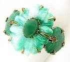 Jan Michaels Antiqued Brass Stone and Enamel Art Nouveau Bracelet