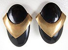 Bold Jan Michaels Art Deco Brass and Horn Clip Earrings