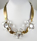 Beautiful Jan Michaels Brass Rock Crystal Necklace & Earrings