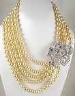 Gorgeous Kenneth Jay Lane Pearl and Rhinestone Rose Bib Necklace