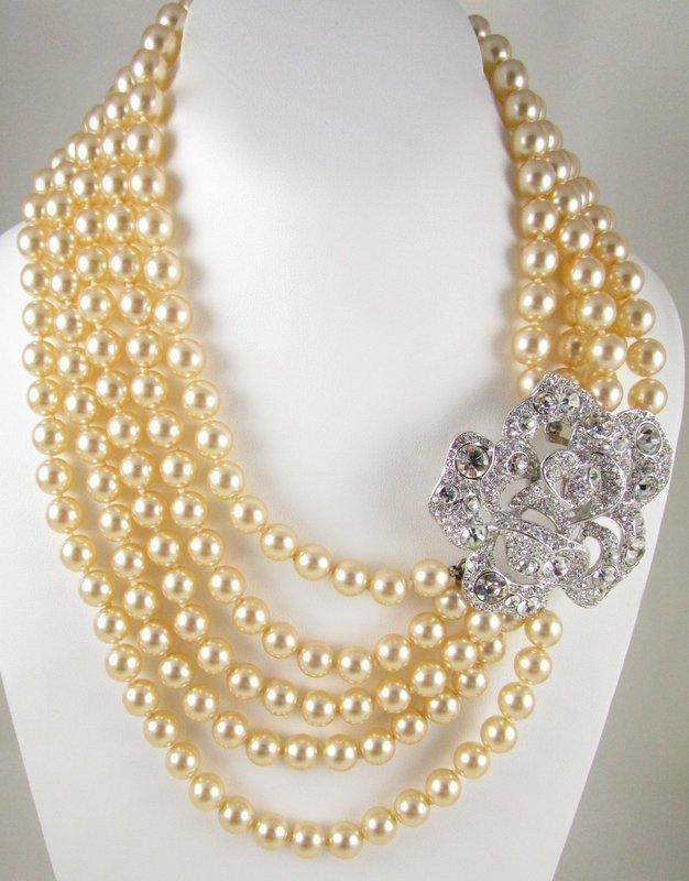 Gorgeous Kenneth Jay Lane Pearl and Rhinestone Rose Bib Necklace