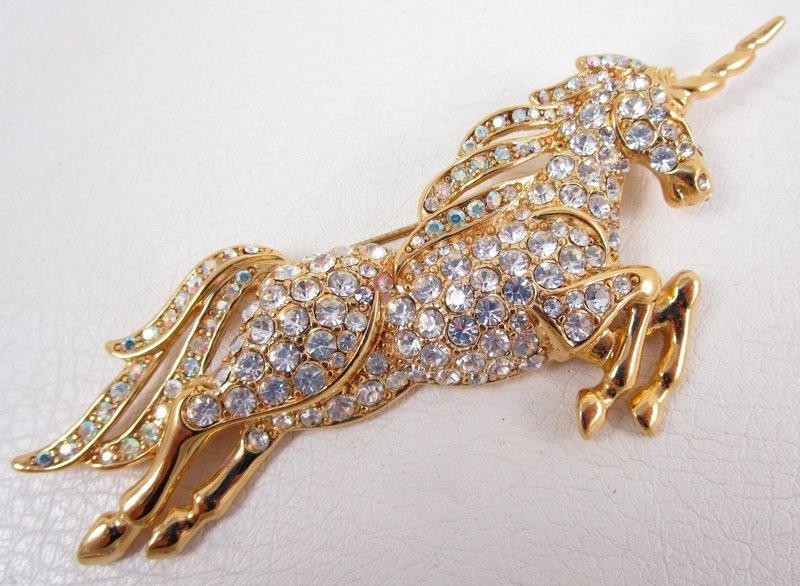 Charming Trifari Pave Crystal Rhinestone Unicorn Pin
