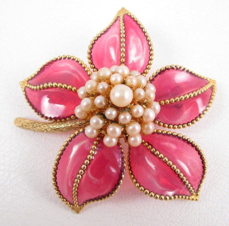 Exquisite Maison Gripoix for Christian Dior Pate de Verre Flower Pin