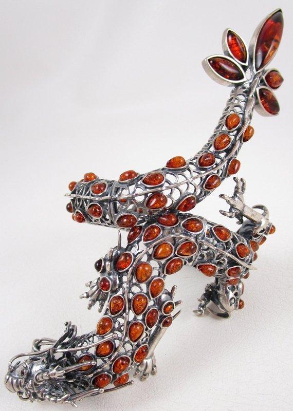 Over the Top Large Sterling Silver & Amber Dragon Bracelet