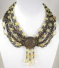 "Elegant Stephen Dweck Bronze and Citrine ""Three Graces"" Necklace"