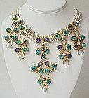 Gorgeous French Couture Rhinestone Pearl Bib Necklace