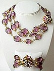 Stunning Miriam Haskell Purple Necklace and Bracelet