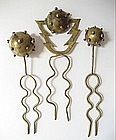 Rare Hubert Harmon Brass Atomic Hair Ornaments