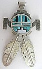 Zuni Sterling Inlay Double Sided Sun God Pendant