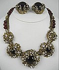 Gorgeous Miriam Haskell Red Necklace and Earrings