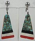 Colorful Santo Domingo  Pueblo Turquoise Earrings