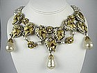 Stunning Miriam Haskell Baroque Pearl Bib Necklace