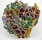 Spectacular Maison Gripoix Pate de Verre Cuff Bracelet