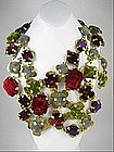 Outstanding Etro Floral Brass & Velvet Bib Necklace