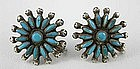 1940's Zuni Sterling Needlepoint Turquoise Earrings