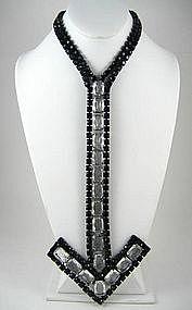 """Over the Top"" Rhinestone Arrow Necklace"