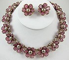 """Trifari """"Poured Glass"""" Pink Flower Necklace & Earrings"""