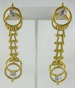 Unusual Andrew Spingarn Gilt Brass Moderne Earrings