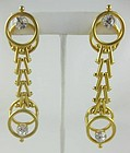 Unusual Andrew Spingarn Gilt Brass Moderne Earrings