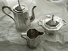 Rare Rogers & Wendt (Boston) 3 Piece Coin Coffee Set