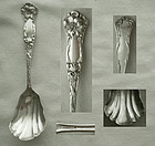 Art Nouveau Floral Sterling Silver Sugar Spoon